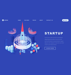 launching startups isometric landing page template vector image