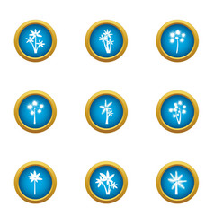 Leaf flower icons set flat style vector