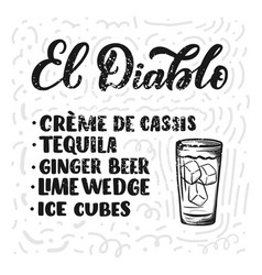 lettering name of cocktail recipe template for vector image