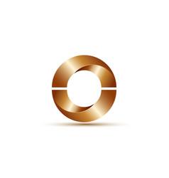 Logo design glossy 3d bronze metallic semi circles vector