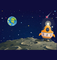 Lunar ground with rocket and earth sight vector