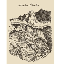 Machu picchu landscape Peru hand drawn sketch vector