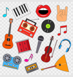 Musical instruments and equipment sticker set on a vector