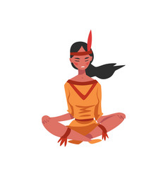 Native american indian girl sitting with her legs vector