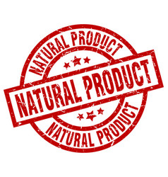 natural product round red grunge stamp vector image