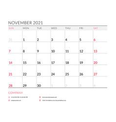 November 2021 monthly calendar planner printable vector