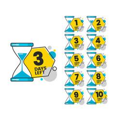 Number days left set badges for sale vector