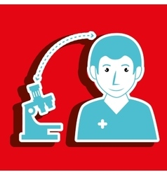 Nurse man and microscope isolated icon design vector