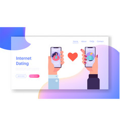 Online dating application concept landing page vector