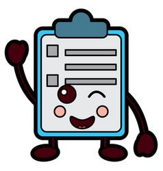 Paper wink clipboard kawaii character cartoon vector