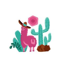 pink alpaca childish hand drawn vector image