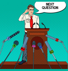 Pop art business man giving press conference vector