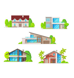 real estate houses cottage and bungalow icons vector image