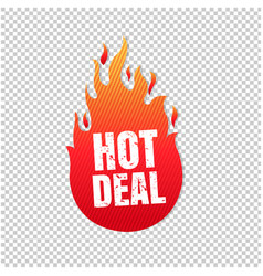 Red hot deal label isolated transparent background vector