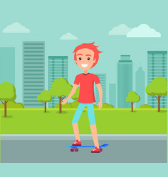 redhead skateboarder ride on skate male vector image