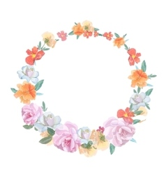 Retro round frame from roses painted in vector