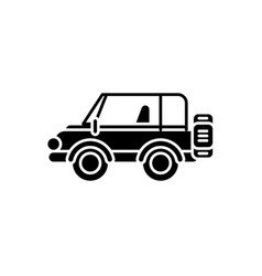 safari jeep black icon sign on isolated vector image