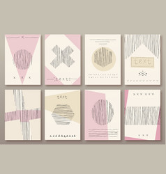 set cards with hand drawn textures vector image