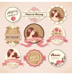 Set of beauty labels vector image