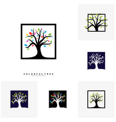 set of colorful tree logo design template luxury vector image