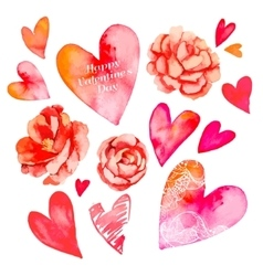 Set of hearts and roses Valentine Day Watercolor vector
