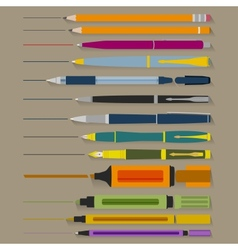 Set of Pencils Pens and Markers vector