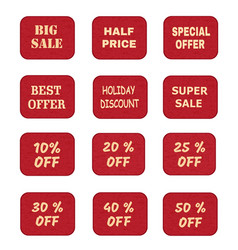 set of price tags labels with promotional offers vector image