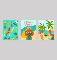 set poster hello summer concept banner pattern vector image