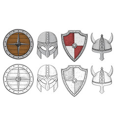 shields and helmets viking equipment hand drawn vector image