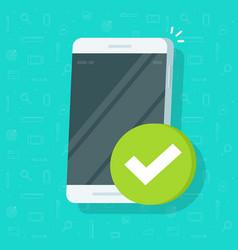 Smartphone checkmark icon flat cartoon vector