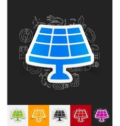 Solar battery paper sticker with hand drawn vector