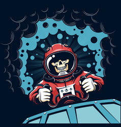 Space poster with skull astronaut in vintage style vector