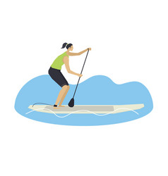 Stand up paddle boarding woman on a board vector