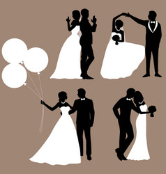 the bride and groom set collection vector image