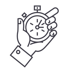 Time management stopwatch in hand line vector