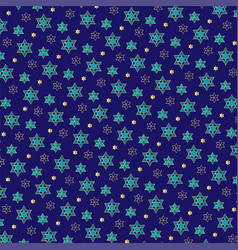 Turquoise blue gold small jewish star pattern vector