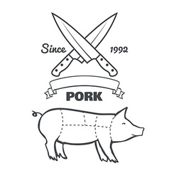 Vintage butcher cuts of pork menu chalk vector