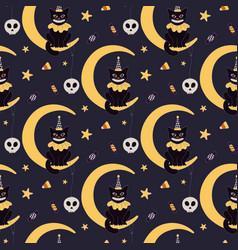Vintage halloween seamless pattern vector