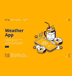 weather app isometric landing page with mobile vector image