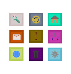 website flat icon set isolated vector image