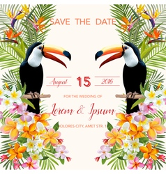wedding card tropical flowers toucan bird vector image