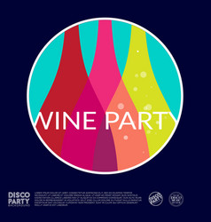 wine party logo color bottles into circle poster vector image