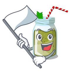 with flag smoothie green juice isolated on mascot vector image