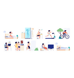 Woman daily routine businesswoman day girl city vector