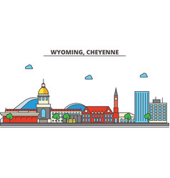 Wyoming cheyennecity skyline architecture vector