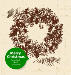 Christmas background with hand drawn vector image vector image