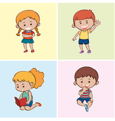 four happy kids on different backgrounds vector image vector image