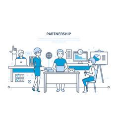 partnerships teamwork activities communications vector image vector image