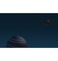 Planet and star on outer space landscape vector image vector image