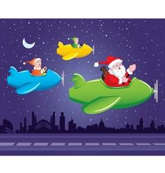 Santa and Elf in Aeroplane vector image vector image